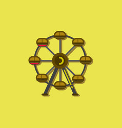 Ferris wheel icon in sticker style vector