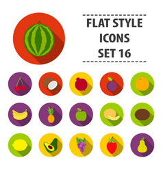 fruits set icons in flat style big collection vector image