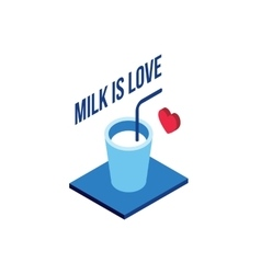 Glass of milk modern isometric flat design vector
