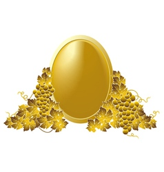 golden frame grapes vector image