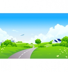 green landscape vector image vector image