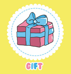 Hand draw gift icon pink present box with vector
