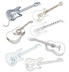 Hand drawn guitars vector