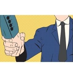 Handshake businessman retro style pop art vector