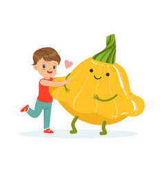 Happy boy having fun with fresh smiling squash vector