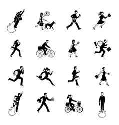 Hurrying business people monochrome set vector