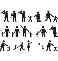 Pictogram people with kids vector image