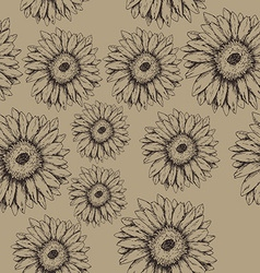 Seamless gerbera flowers pattern vector