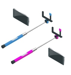 Selfie stick Flat 3d isometric vector image vector image
