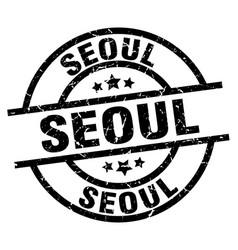 Seoul black round grunge stamp vector