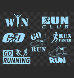 Set of vintage run club labels vector