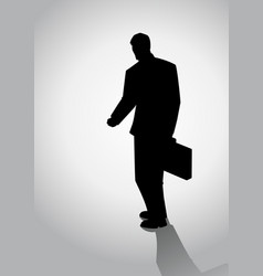 Silhouette of businessman walking vector
