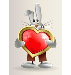 sneaky little Bunny holds in hands red heart vector image vector image