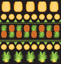 Tropical summer seamless pattern of pineapples and vector
