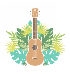Ukulele and tropical leafs vector