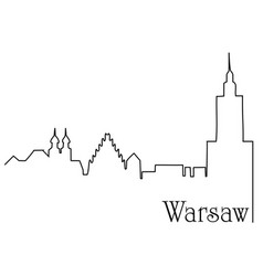 warsaw city one line drawing background vector image