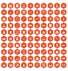 100 online shopping icons hexagon orange vector image