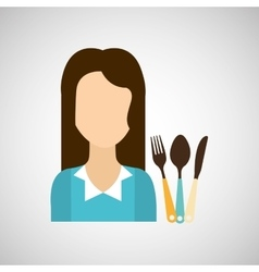 Girl with kitchen tools icon vector