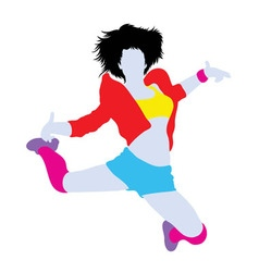 Happy hip hop dancer silhouette vector