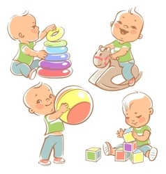 Set with kids playing vector image
