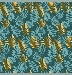 Luxury tropical leaves seamless pattern in emerald vector