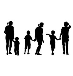 set of mothers holding kids vector image