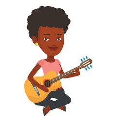 Woman playing acoustic guitar vector