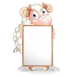 A sheep holding an empty bulletin board vector