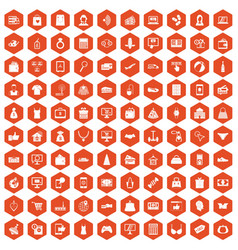 100 online shopping icons hexagon orange vector image