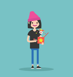 young female character holding a jack in the box vector image