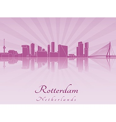 Rotterdam skyline in purple radiant orchid vector image