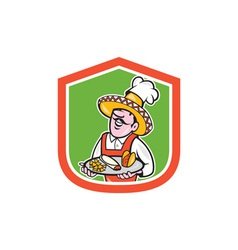 Mexican chef cook shield cartoon vector