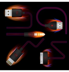 Set USB Wires Adapters Conductors Connection vector image