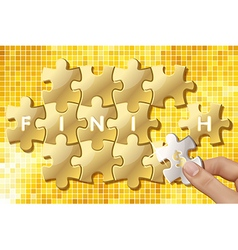 Jigsaw puzzle pieces with words finish vector