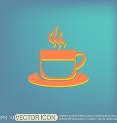 Cup of hot drink icon cafe or diner vector