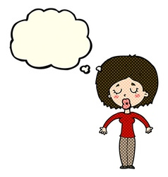 Cartoon woman with closed eyes with thought bubble vector