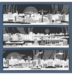 Industrial banners 1 linear vector