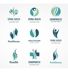 Chiropractic massage back pain icons vector