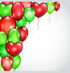 Background with red and green balloons vector image vector image