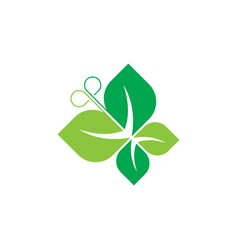 butterfly green leaves and ecology logo vector image