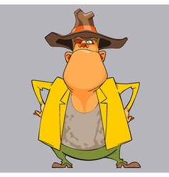 cartoon funny man sheriff in a hat vector image vector image