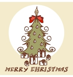 Christmas tree doodles vector image vector image