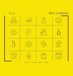Collection of 16 halloween icons in thin line vector