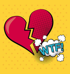 Colorful background pop art style of heart broken vector