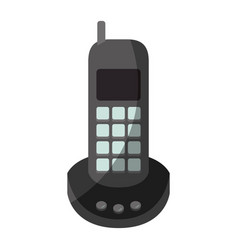 Colorful graphic of cordless phone without contour vector