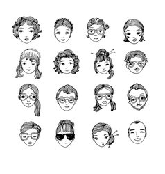 Different faces hand drawing isolated objects on vector