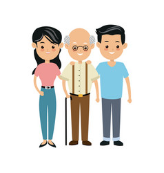 Family people mother and father and grandfather vector
