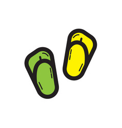 flat color sandals icon vector image vector image