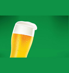 frosty glass of beer with foam on green background vector image