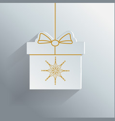 Gift box with golden snowflake new year vector